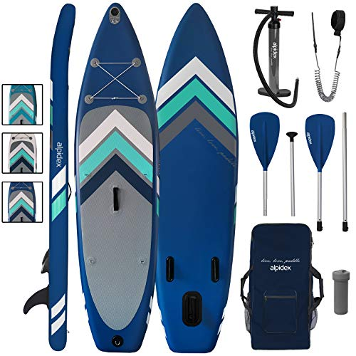 ALPIDEX Stand Up Paddle Board 305 x 76 x 15 cm Charge Max. 110 kg Sup Planche Gonflable iSup Leger Robuste Ensemble Débutant, Couleur:Bleu
