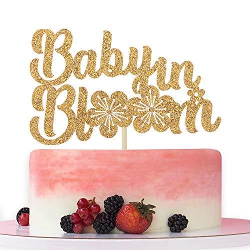 Baby in Bloom Gold Glitter Cake Topper