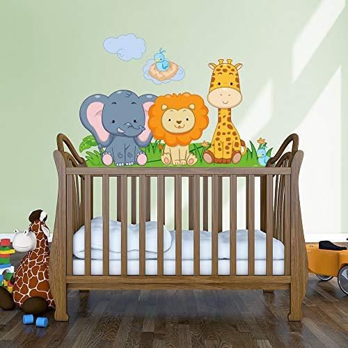 kina R00142 Wandtattoo für Kinder - Tiere auf dem Kinderbett - Maße: 90 x 30 cm - Wandaufkleber, Wandaufkleber