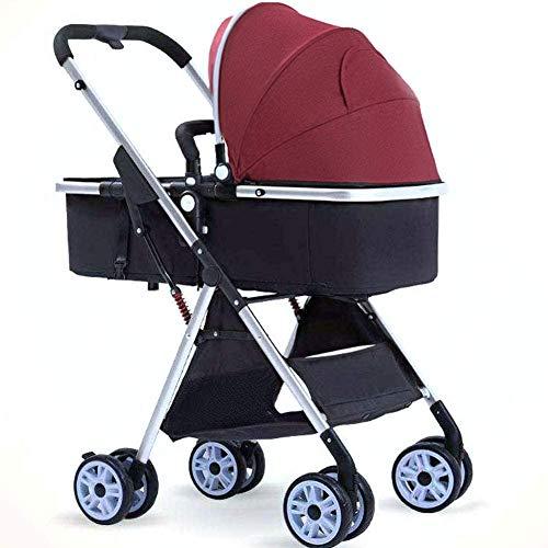 DAGCOT 3 en 1 Cochecito Cochecito portátil Viajar cochecito de dos vías Sentado plegable coche de bebé for el recién nacido cochecito de niño plegable carro de bebé sistema de viaje, Rojo