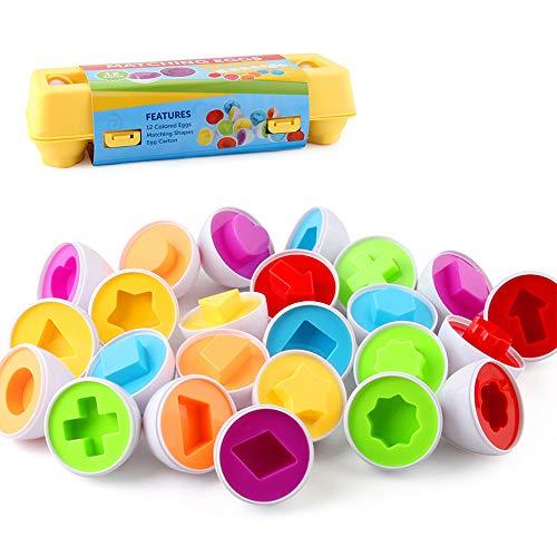 VCOSTORE Juguetes de Huevo Huevos de Pascua Juguetes educativos Juego de 12 Colores Huevos de clasificación de Formas para desarrollar Habilidades de reconocimiento de niños pequeños