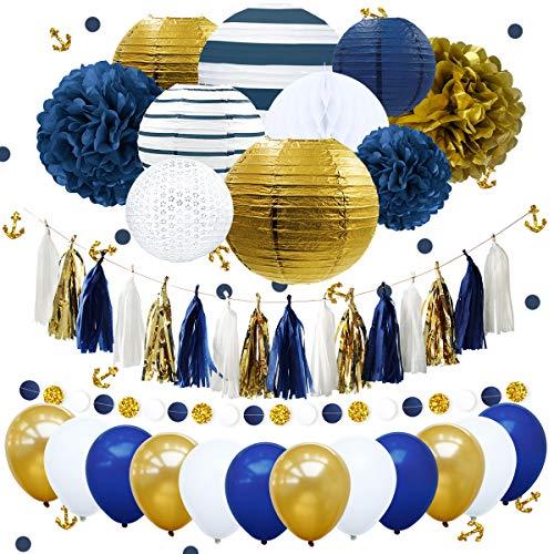 NICROLANDEE Nautical Decorations Navy Stripe Gold Paper Lanterns Royal Blue Tissue Pom Poms Flower Glitter Anchor Confetti Tassel Garland Party Balloon for Graduation, Wedding, Birthday, Bachelorette