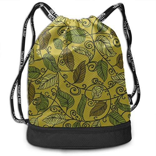 OKIJH Mochila Mochila de ocio Mochila con cordón Mochila multifuncional Bolsa de gimnasio Drawstring Bags Storage Exotic Tropical Beautiful Leaves Gym Drawstring Bags Backpack Sports String Bundle Bac