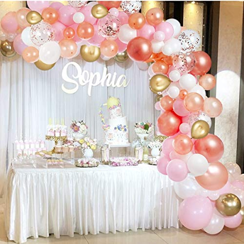 Rose Gold Balloon Arch Kit – White Pink and Gold Balloon Garland – Baby Shower Balloon Arch – Latex Balloons for Birthday Party Decorations – DIY Large Balloon Kit for Bridal Shower Engagement Party