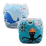 ALVABABY Swim Diapers 2pcs Reusable Adjustable & Washalbe for Boys & Girls 0-2 Years DYK13-14