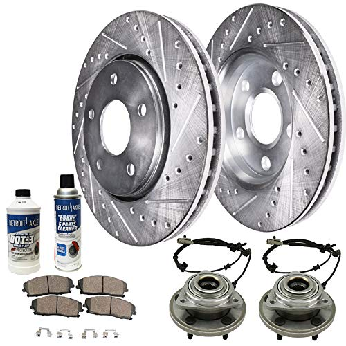 Detroit Axle - Front Wheel Bearing & Hub, Drilled Brake Kit Rotors w/Ceramic Pads w/Hardware & Brake Kit Cleaner & Fluid for 2006 2007 2008 2009 2010 Jeep Commander - [2005-2010 Grand Cherokee]