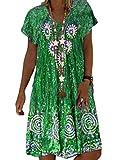 CORAFRITZ Vestido bohemio casual de verano femenino de moda con cuello en V Tie Dye manga corta vestido largo