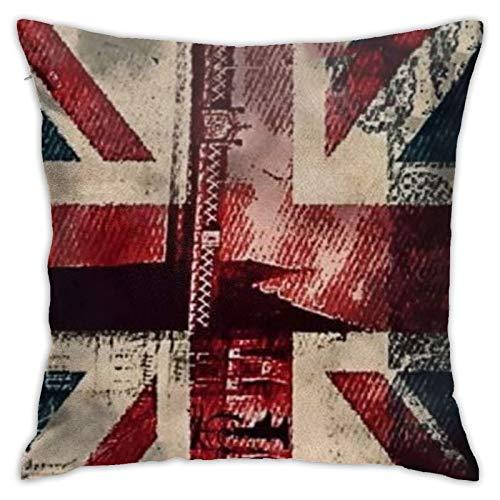 Juego de almohadillas para sofá de Londres con la bandera de Inglaterra y el puente de Londres para decoración del hogar para sala de estar, oficina, coche, cafetería, cama, dormitorio, 45 x 45 cm
