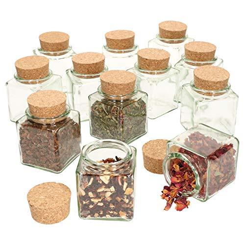 MamboCat Set van 12 theeglazen, 200 ml, rechthoekig voorraadglas, deksel van natuurkurk, herbruikbare bewaardoos