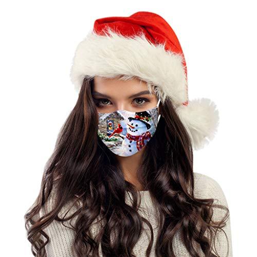 MOMOCA 50 Stück Erwachsene Mund und Nasenschutz, Weihnachtsmann Druck Mundbedeckung Atmungsaktive Staubschutz Multifunktional Frauen männlich