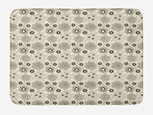 Dahlia Bath Mat, Vintage Style Garden Flower Sketches of Dahlia and Chrysanth Bishop of Llandaff, Plush Bathroom Decor Mat with Non Slip Backing,Black Beige 23.6(L) X15.7(W)