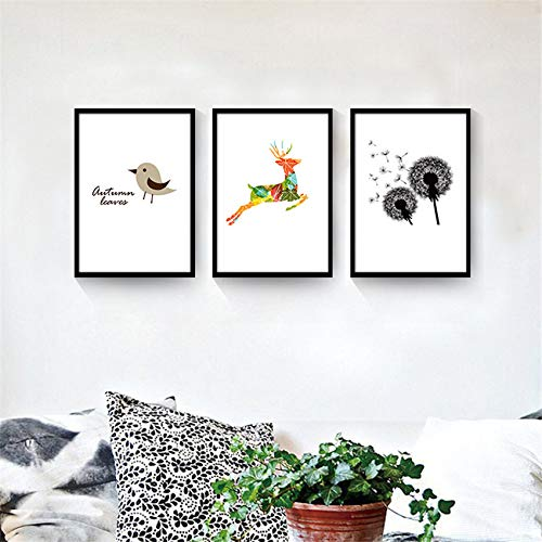 SDFSD Piante Graffiti astratte Animale Uccello Cartoon Cervo Pittura Camera dei Bambini Home Art Decor Room Poster viventi Tela Pittura 60 * 100 cm