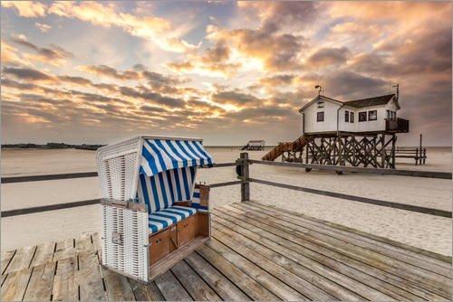 Acrylglasbild 60 x 40 cm: Morgens am Nordsee Strand von Sankt Peter Ording von Dennis Stracke - Wandbild, Acryl Glasbild, Druck auf Acryl Glas Bild