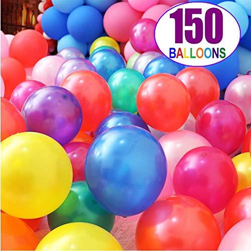 Globos de colores, globos de fiesta, 150 piezas de globos de arcoíris de perlas, globos de colores surtidos, globos multicolores de 12 pulgadas para cumpleaños de niños, decoración de fiestas