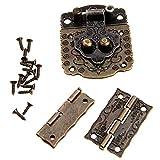 Pestillo del cerrojo de cierre + 3psc / set joyería de la vendimia de las bisagras de bronce antigua caja de la caja del armario Accesorios Accesorios de Muebles