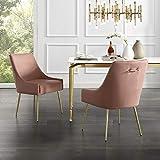 InspiredHome Blush Velvet Dining Chair - Design: Christine | Armless | Set of 2 | Knob Handle | Stainless Steel Legs