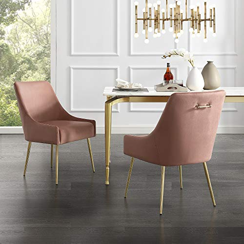 InspiredHome Blush Velvet Dining Chair - Design: Christine | Armless | Set of 2 | Knob Handle | Stainless Steel Legs