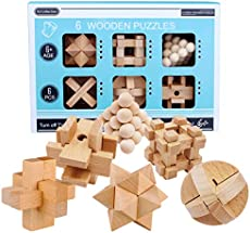 FenglinTech Brain Teasers, 6PCS IQ Wooden Puzzle Set, Assembly Disentanglement Puzzles for Adult