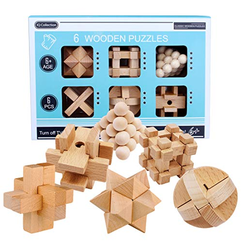 LoKauf 6Pcs Rompecabezas de Madera Juegos de Ingenio Puzzles 3D Juego IQ Calendario de Adviento para Adultos Niños