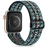 Wepro Compatible con Correa Apple Watch 44mm 42mm para Mujeres/Hombres, Correa de Repuesto Elegante de Nailon Ajustable Elástico para Apple Watch SE/iWatch Series 6 5 4 3 2 1, Azul Marrón