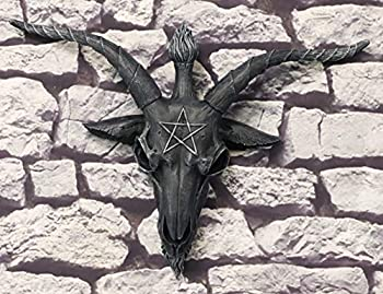 Ebros Large 18.5 Wide Faux Stone Satanic Sabbatic Goat Of Mendes Baphomet Skull Head With Pentagram Wall Decor Hanging Plaque Entrance Overdoor Pediment Door Hanger 3D Wall Art Satan Horned God