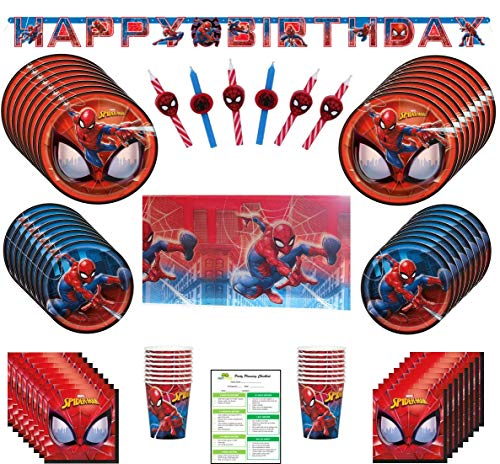 Spiderman Birthday Party Supplies Pack: Big/Small Plates, Cups, Napkins, Table Cover, Balloon - 16 Guests