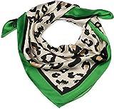 styleBREAKER Bufanda cuadrada para damas con un patrón de animal leopardo con borde de contraste, bufanda multifuncional, pañuelo 01016195, color:verde