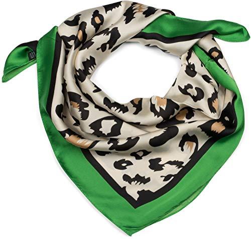 styleBREAKER Dames Vierkante sjaal met luipaarddiercontrastrand, multifunctionele sjaal, bandana 01016195