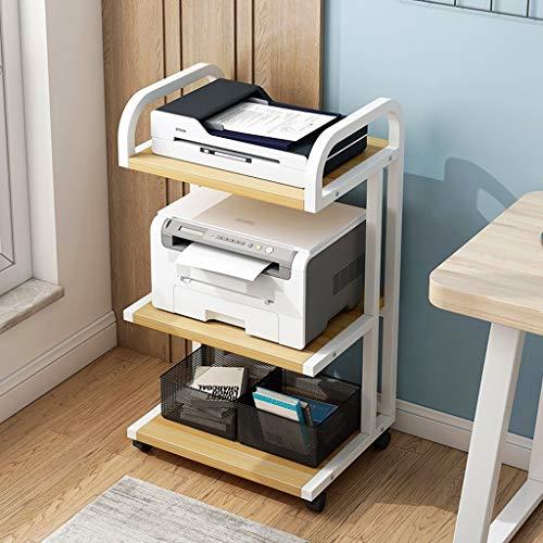 Soporte escritorio para soporte de impresora 3 armarios Carrito de impresora multifuncional de pie con ruedas de almacenamiento en rack organizador papel for el hogar y la oficina Estante de escritori