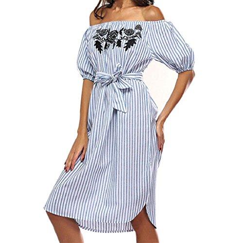 Bekleidung Longra Damen Sommerkleid, Damen Off Shoulder Kleid Kurze Ärmel Slash gestreiften Casual Kleid (Asian XL(Bust:112cm/44.0), Blue)