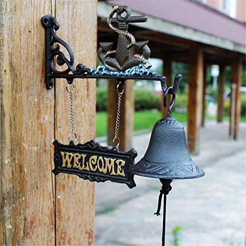 Antique Wall Mounted Doorbell Cast Iron Hanging Doorbell Decoration and Wall Bracket Traditional Style Antique Bell Dinner Hurricane Bell Hanging Outside Bar Cafe (Color : C1, Size : As Shown)