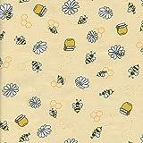 Textiles français Baumwollstoff | Honigbienen - Gelbtöne,