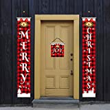 BZNHDWTO Christmas Decoration Couplet Merry Christmas Curtain Decoration Christmas Decoration Door Painting Decorations (Color : 002)