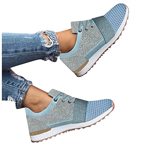 Briskorry Zapatillas de deporte para mujer, transpirables, ligeras, deportivas, de malla, con cremallera frontal, antideslizantes, para correr, gimnasio, caminar, etc.