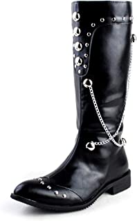 CHENDX Shoes, Men's Fashion British Style Pointed Toe Knee High Boots Side Zipper Chain & Rivet Decoration Motorcycle Boots (Color : Black, Size : 7.5 UK)