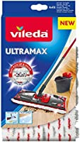 Vileda - Recharge Balai à plat officielle Compatible UltraMax/Ultramat/1.2.Spray - Version 2en1 Microfibre, Blanc et Rouge