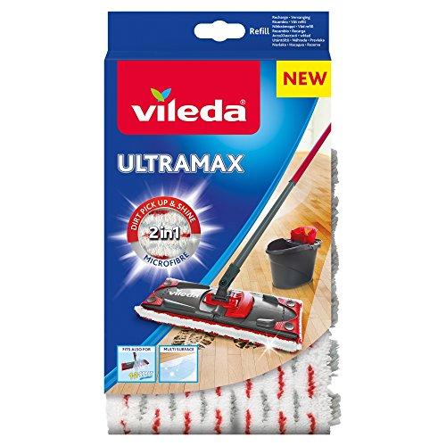Vileda - Recharge Balai à plat officielle Compatible UltraMax Ultramat 1.2.Spray - Version 2en1 Microfibre, Blanc et Rouge