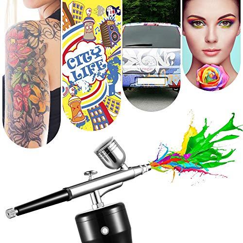 S SMAUTOP Handheld Airbrush Kit USB Wiederaufladbare Mini-Luftkompressor-Spritzpistole mit 0,3 mm Nadel 7CC Kapazität Tasse für Make-up, Bodypainting, Handwerk, Kuchen dekorieren, Tätowieren