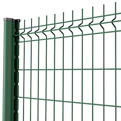 Amagabeli Grillage clôture Rigide soudé Kit de 40m Hauteur 1530mm avec Panneau Rigide et Piquets de clôture Galvanisée Enduit EP Utilisation pour Les Jardins Maisons Fermes Vert RAL6005