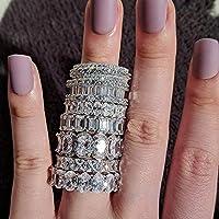 女性のための高級女性のための925純銀製のウェディングバンドリング永遠に大きな贈り物は、バルクの宝石R4577卸売たくさんの愛 (Gem Color : R4572, Ring Size : 6)