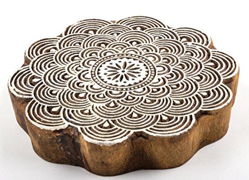 1 großer Holz-Stempel handgeschnitzt rund Motiv Blume, für Textildruck oder als Dekoobjekt