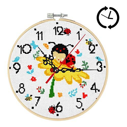 Xnuoyo Kits De Inicio De Bordado De Reloj, Kits De Punto De Cruz De Bricolaje, Juego De Punto De Cruz De Reloj De Pared, Con Aguja De Bordar, Hilos, Tela, Aro Y Accesorios De Reloj (Abeja, 8 in)