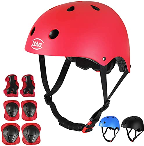 LBLA 7Pcs Kids Helmet and Pads for Age 3-8 Years Old Kids, Adjustable Protective Gear Set for Bike Cycling Skateboard, Helmet Knee Elbow Wrist for Scooter