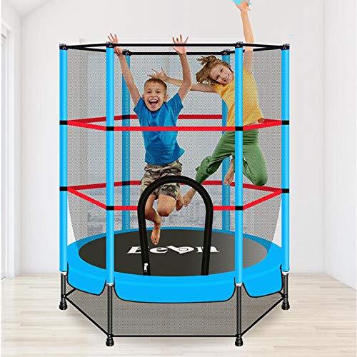 Olz Cama elástica con recinto de la Seguridad -Indoor o trampolín al Aire Libre para los niños-Azul-5,5 pies
