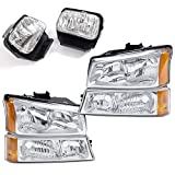 CNNELL Headlight Assembly Compatible with Chevy Silverado 1500/2500/3500 2003-2006 Headlights + Bumper + Fog Lamps Combo