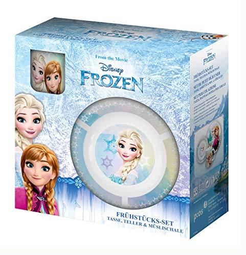 POS 24508088 - Frühstücksset mit Disney Frozen Motiv, 3 teiliges Geschirrset für Kinder, aus Keramik, bestehend aus Teller, Schale und Tasse, spülmaschinengeeignet