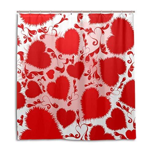 Douchegordijn met haken, voor dagelijks gebruik, 66x72 inch, badkamerset, rode hartjes, stofstang, waterdicht polyester.