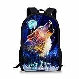 HUGS IDEA Bajo Animal Impreso Niños Escuela Bolsa Azul Niños Mochila, Luna de lobo (Azul) -...