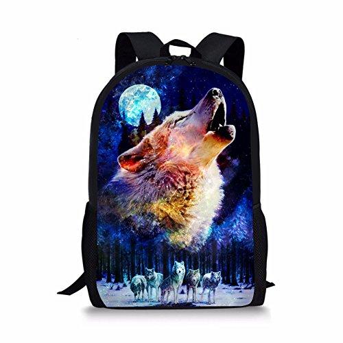 HUGS IDEA Under Animal bedruckter Kinder-Rucksack, Blau, Wolf Mond (Blau) - Y-CB034C