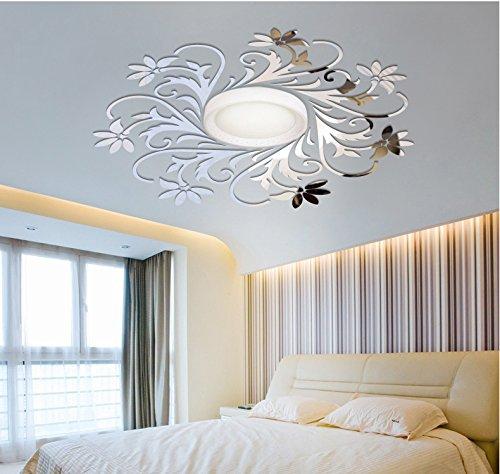 Sticker mural pour miroir européen pour décoration de plafond, décoration de plafond - Argenté